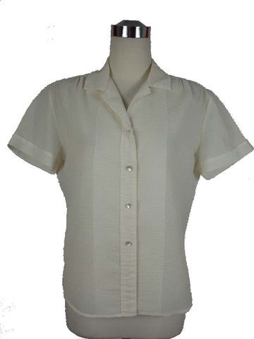 SOLD! 1950's Vintage White Seersucker Short Sleeve Blouse