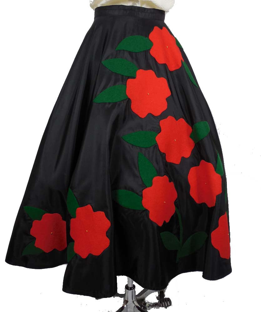 SOLD! 1950 Vintage Holiday Black Circular Taffeta Skirt with Red Felt Poinsettia Flowers