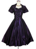 SOLD! 1950's Vintage Royal Purple Party Dress with Sequined Shelf Bust