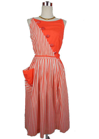 SOLD! 1950's Vintage Orange and White Striped Creamsicle Day Dress