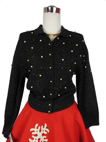 Sold! 1950's Vintage Barbara Carol Black and Gold Flecked sweater with Gold Pearls