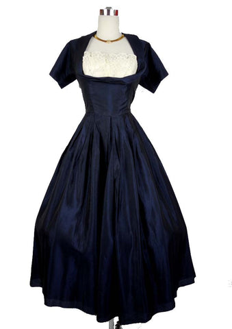 1950's Vintage Beaumelle Navy Blue Party Cocktail Dress with Shelf Bust