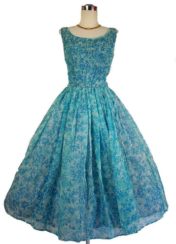 1950's Vintage Blue Floral Chiffon Party Dress by Natlynn
