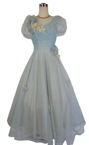 1950's Vintage Pale Blue Tulle Prom Gown with White Flowers and Wrap