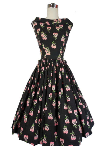 SOLD! 1950's Vintage Black Cotton Dress with Pink Pansies