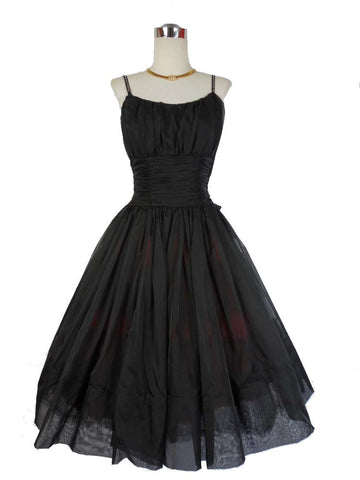 SOLD! 1950's Vintage Black Chiffon Cocktail Dress with Rhinestones