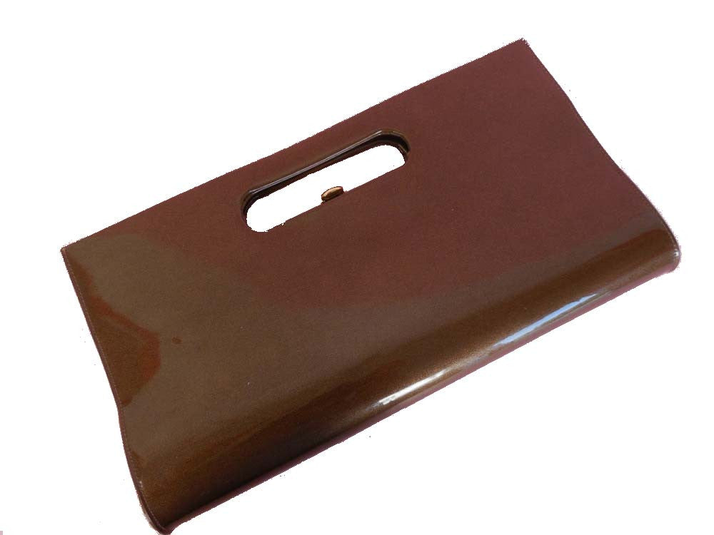 SOLD! 1960's Vintage Patent Leather Brown Rectangular Handbag