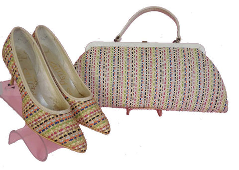 SOLD! 1960's Vintage Woven Rainbow Straw Handbag and Shoes by Les Petites