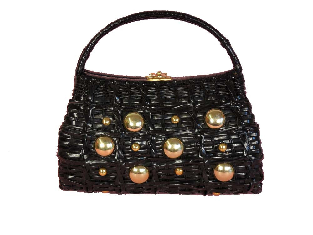 SOLD! 1950's Vintage Black Woven Basket Purse with Metal Balls