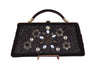 1950's Vintage Black Handbag with Beads and Flowers by Caron