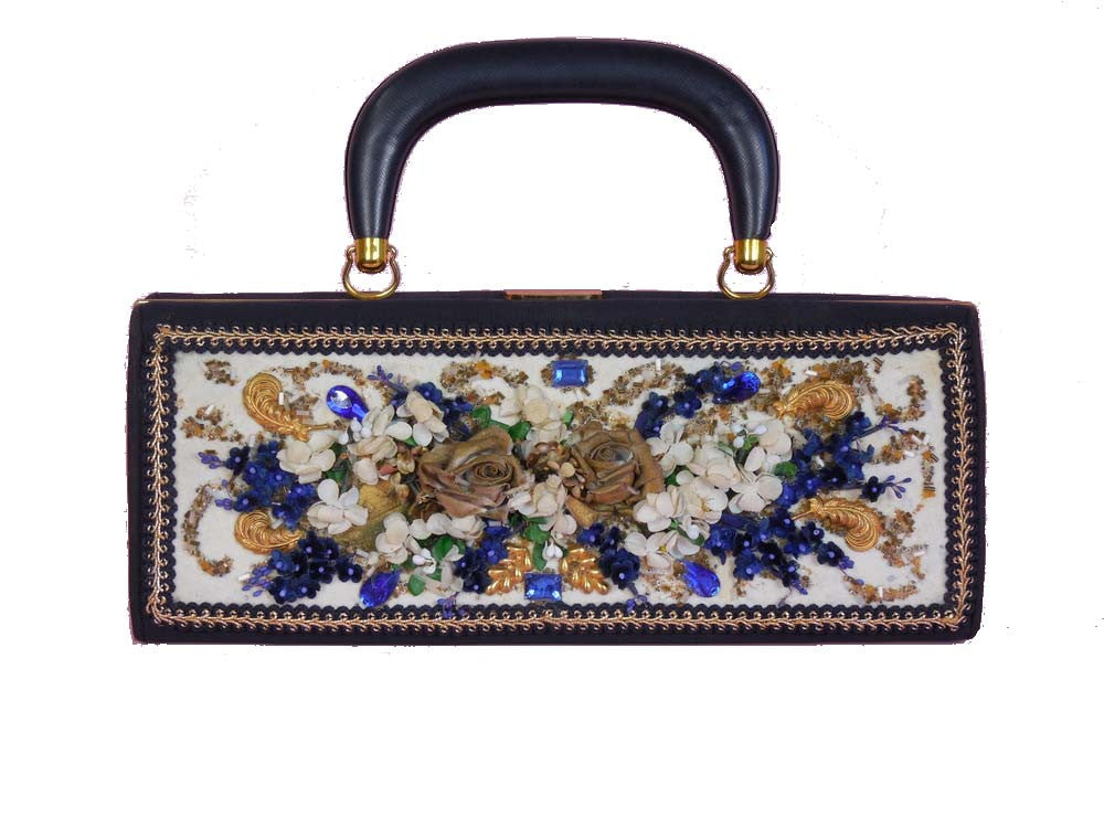 SOLD! 1950's Vintage Navy Blue Purse Embellished with Flowers