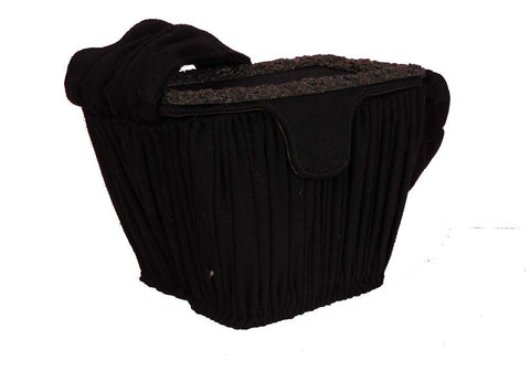 SOLD! 1950's Vintage Paris Charlet Black Wool Pleated Box Purse