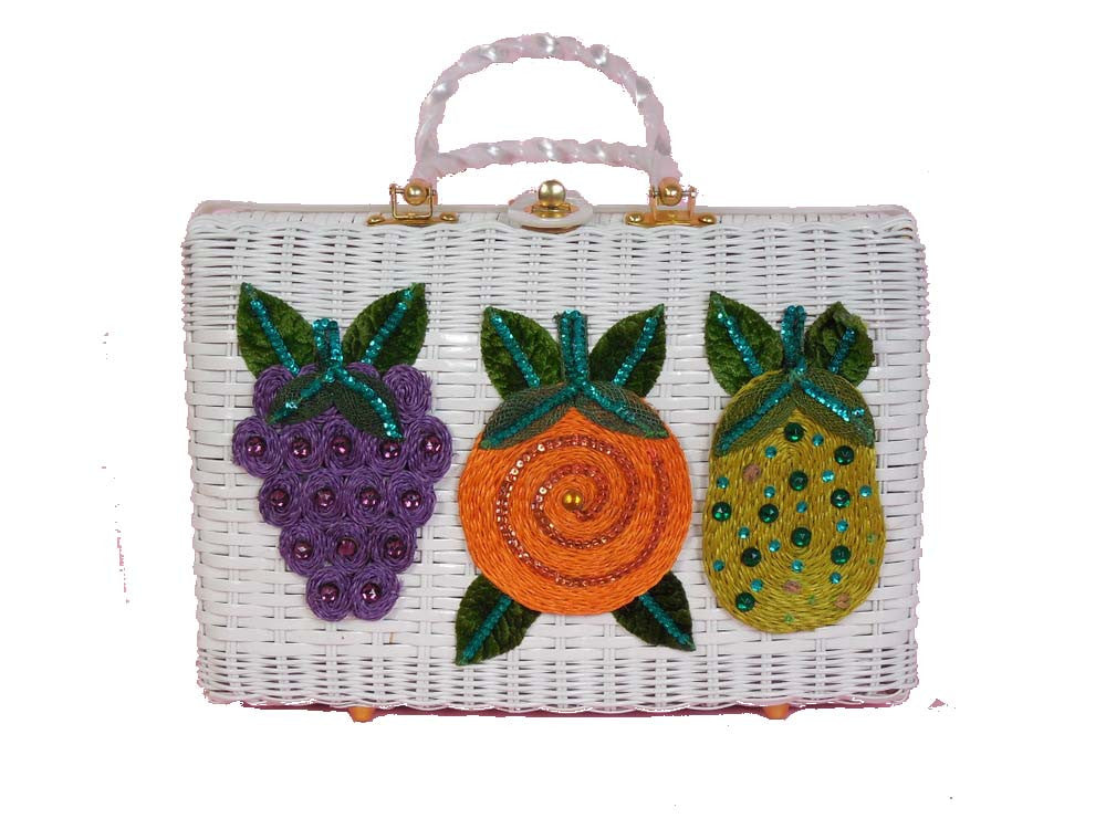 SOLD! 1950's Vintage White Woven Basket Purse with Fruit Appliques