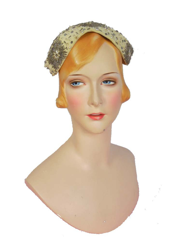 SOLD! 1950's Vintage Cream Pearl and Silver Beaded Hat by J. Howard Hodge