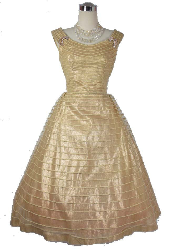 SOLD! 1950s Vintage Gold Lame Tulle Party Dress w/ Rhinestone Brooches by Miss Cane