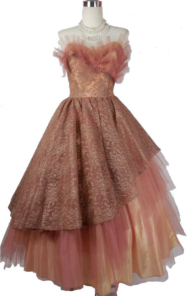 SOLD!1950s Vintage Dusty Rose Asymmetrical Lace and Tulle Prom Gown