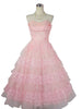 1950's Vintage Pink Lace and Tulle Prom Dress with Sweetheart Shelf Bust