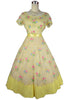 SOLD! 1950 1960 Samuel Winston By Roxane Vintage Yellow Voile Organza Dress w/ Floral Embroiderey