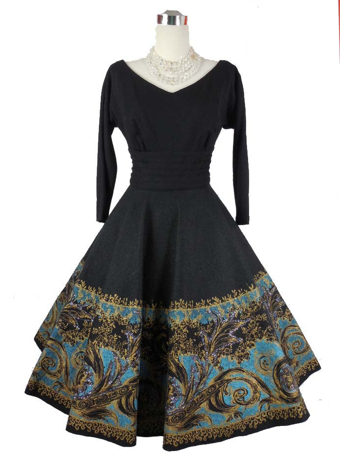 SOLD! 1950's Vintage Black Wool Dress with Hand Painted Felt Skirt by Miss Elliette