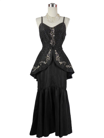 SOLD! 1930 / 1940 Vintage Black Gown with Peplum and Rhinestones