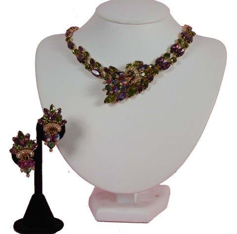 SOLD! 1950 Demi Parure Raspberry Green Purple Necklace and Earring Set Gorgeous