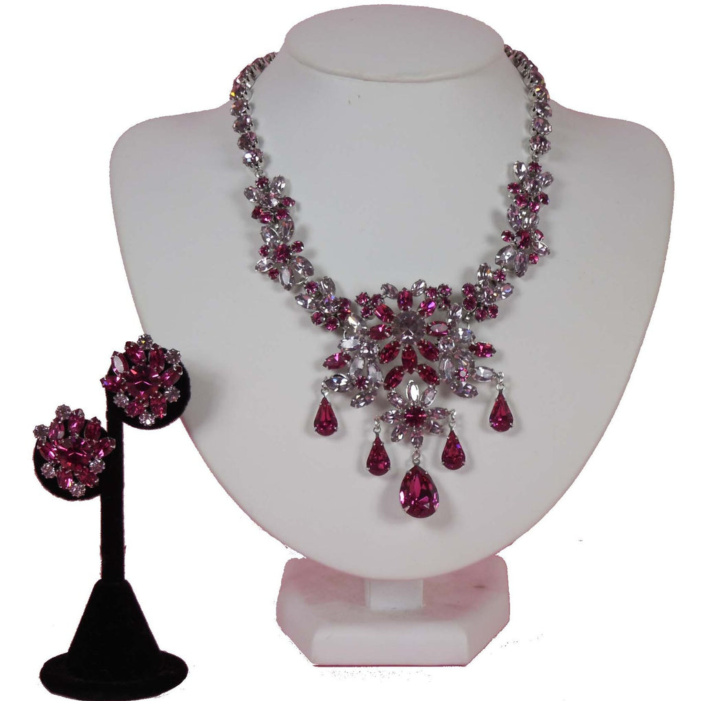 SOLD!1950 Vendome Demi Parure Pink Necklace and Earring Set Gorgeous