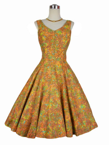 SOLD! 1950's Vintage Orange Paradise Tiki Hawaiian Cotton Dress