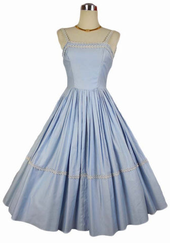 SOLD! 1950's Vintage Emma Domb Baby Blue Cotton Dress with White Trim