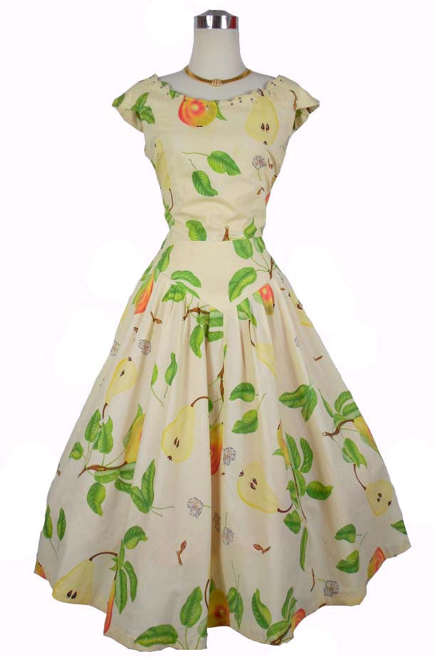 SOLD! 1950's Vintage Toni Todd Beige Fruit Print Cotton Day Dress with Rhinestones and Pearls