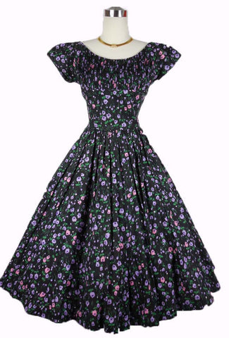 SOLD! 1950's Black Floral Cotton Day Dress With Shelf Bust