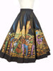 SOLD! 1950's Vintage Painted Black Mexican Motif Skirt