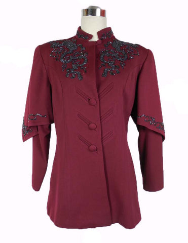 SOLD! 1940's Unique Vintage Lili Ann Burgundy Gabardine Beaded Suit Jacket