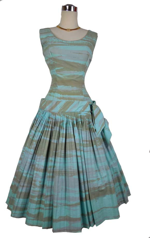 SOLD! 1950's/ 1960's Vintage Carl Naftal Blue + Gray Drop-waist Dress with Pleated Skirt