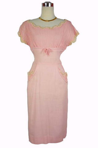 1960s/1950s Vintage Pink Linen Wiggle Dress by Brown Dress
