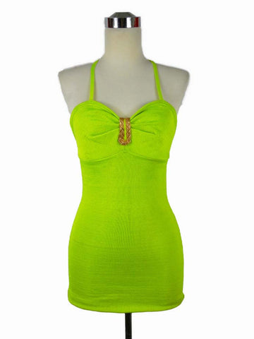 SOLD! 1950's 1960's Vintage Gantner Neon Green Halter Swimsuit