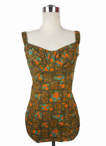 SOLD! 1950's Vintage Jantzen Green and Orange Geometric One Piece Swimsuit Maillot