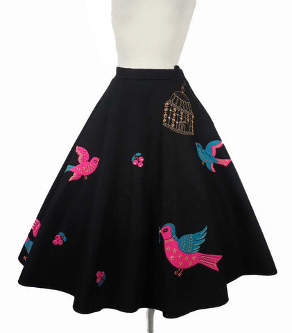 SOLD! 1950's Vintage Black Felt Circular Skirt with Blue and Pink Felt Birds