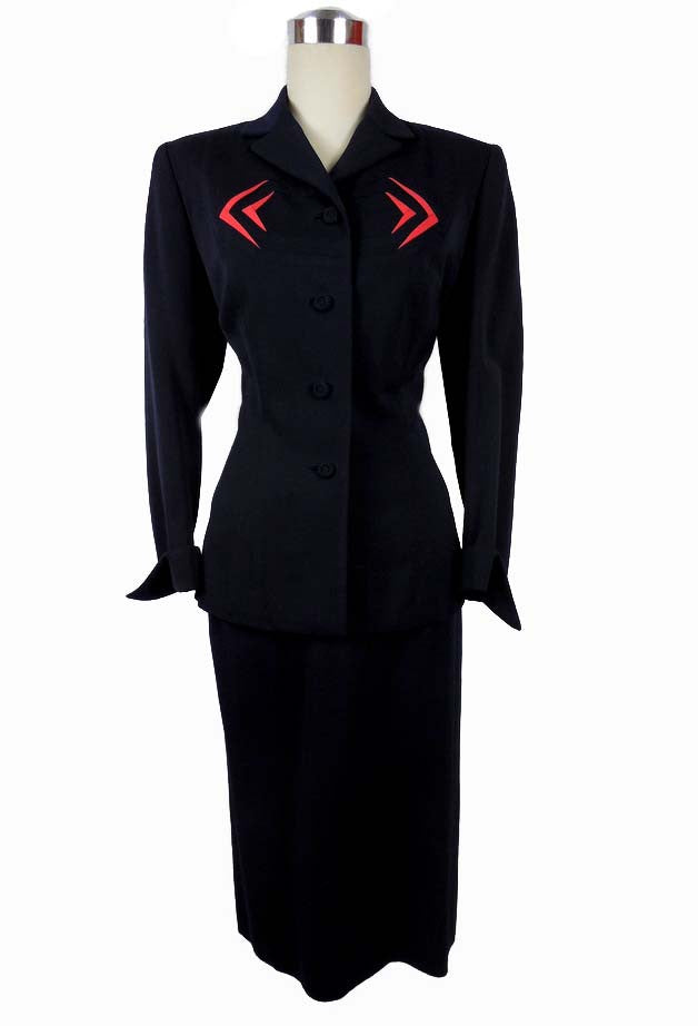 SOLD!1940's Vintage Navy Blue Mayfair Suit with Red Design