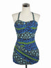 SOLD! 1950's Vintage Rose Marie Reid Blue Hawaiian Sweetheart Halter Bathing Suit