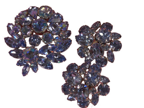 1950 Topaz Blue Crystal Demi Parure Brooch and Earring Set