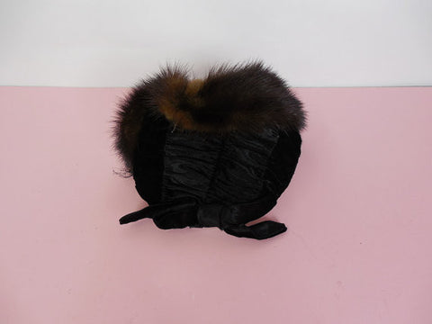 SOLD! 1950's Vintage Black Velvet and Brown Fur Trimmed hat