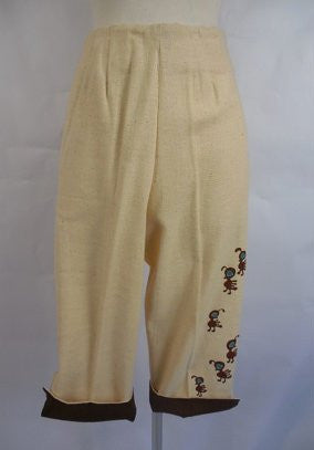 1960's Vintage Linen Dead Stock Beige and Brown Pedal Pushers