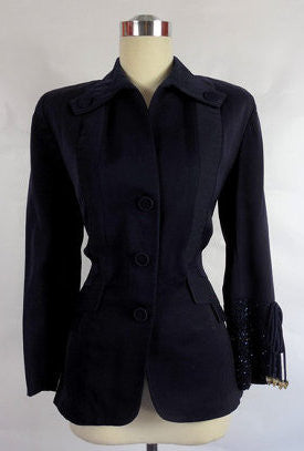 1940's Vintage Navy Blue Gabardine Jacket with Beaded Sleeve Cuff