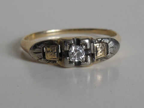 1900 1920 Antique Estate VTG Rose & White Gold 14K Diamond Art Deco Ring Perfect Wedding Sweetheart Ring
