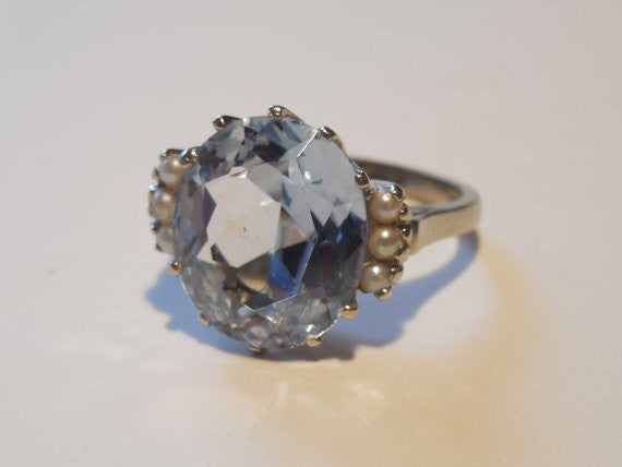 SOLD! Antique Estate 1960 LG Blue Topaz and Seed Pearls VTG 10k White Gold Cocktail Ring