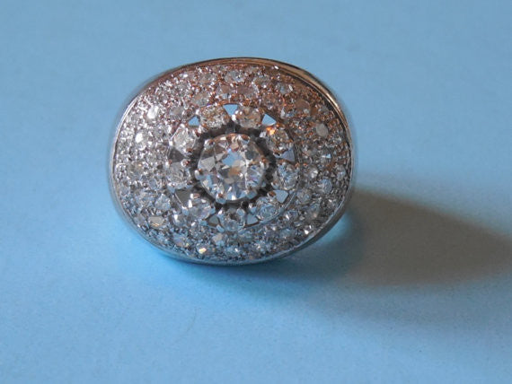 Antique Estate VTG 1960 Huge Over 2 Carats of Diamonds Platinum Dome Cocktail Ring