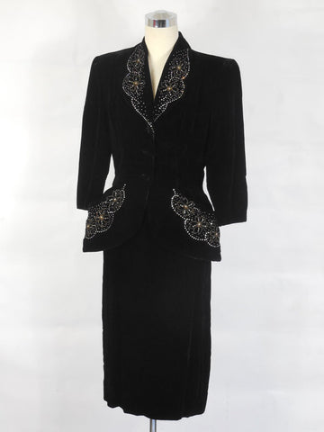 SOLD! 1950 Vintage Black Silk Velvet Suit with Bead & Rhinestone Embellishments