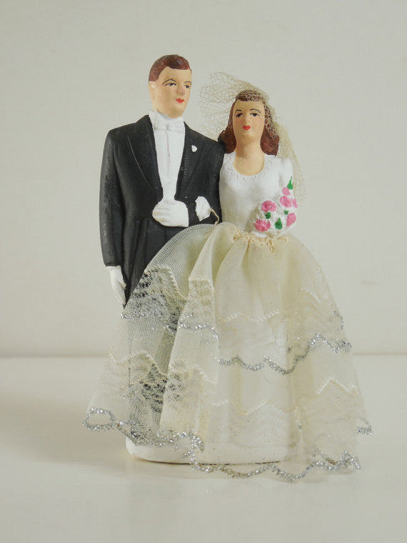 Vintage 1951 Never Used Bride and Groom Wedding Cake Topper Swing Era Perfect