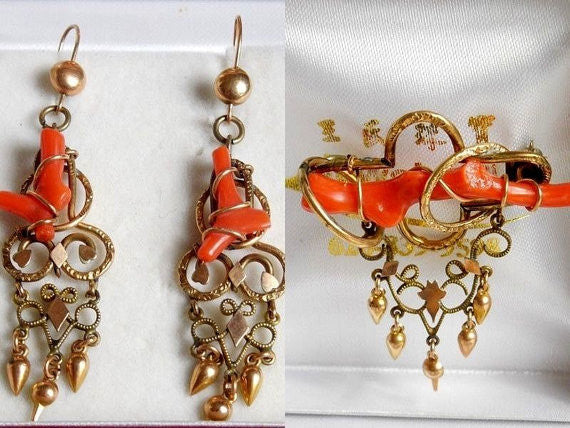 SOLD! Antique Victorian Estate VTG 1800 1900 Coral & Gold Vermeil Earrings Brooch Set