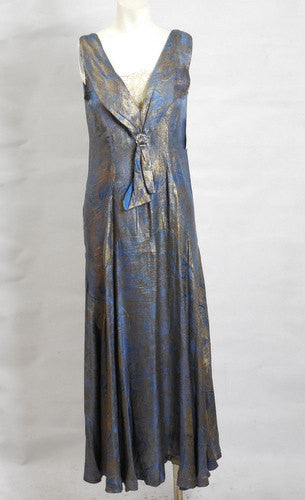 1920s 1930s Art Deco Vintage Blue Silver Lame' Gown Just Beautiful